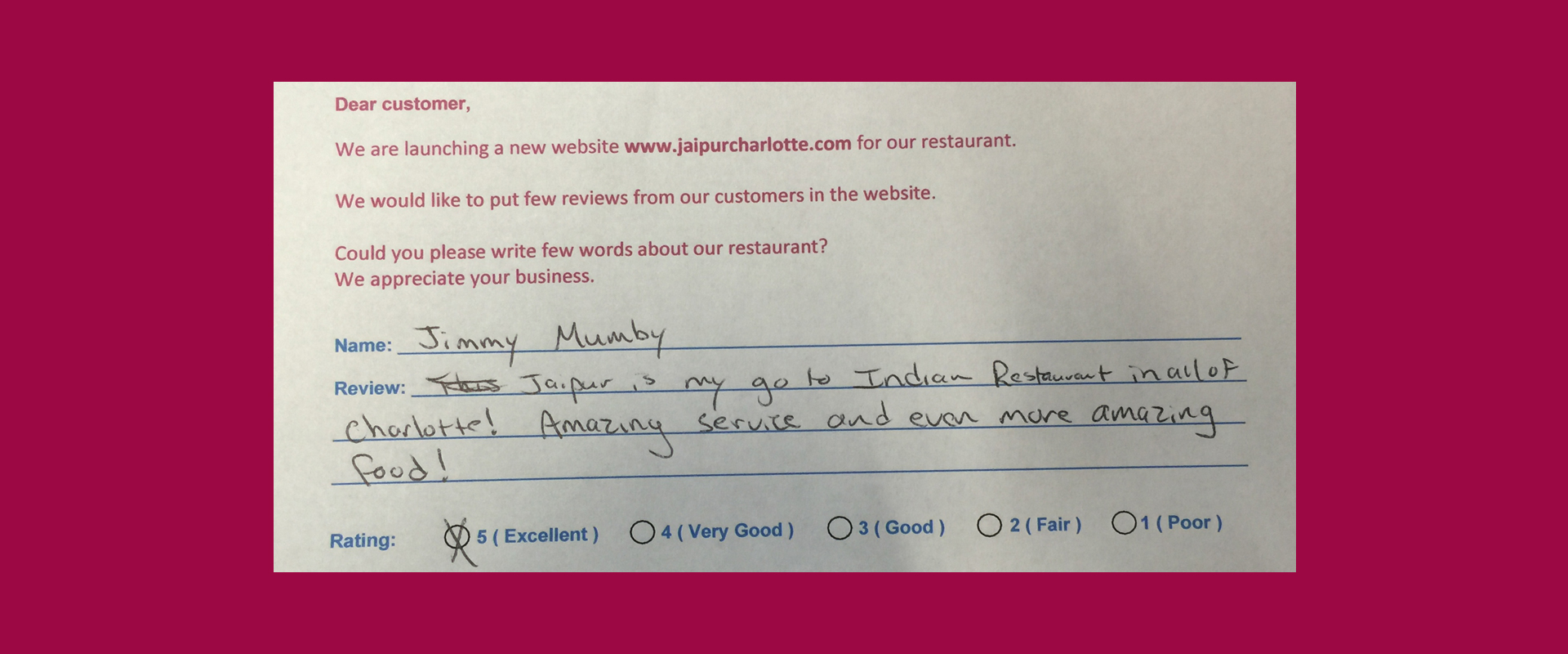 Jaipur Indian Restaurant Customer Review by Jimmy Mumby - Rating 5 out of 5