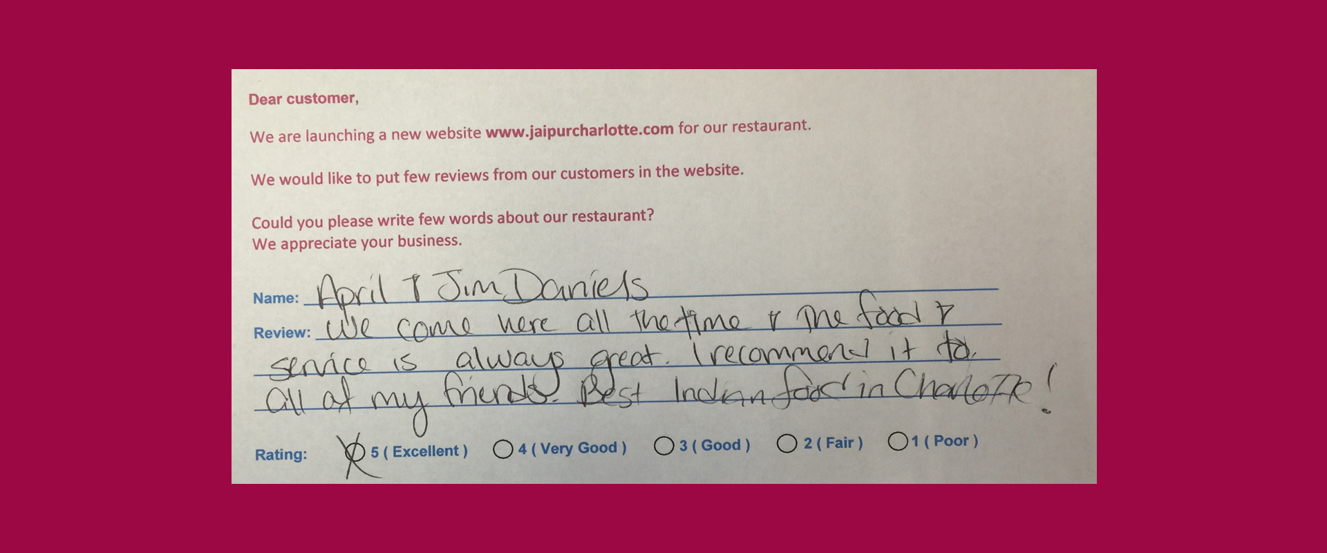 Jaipur Indian Restaurant - Customer Reviews