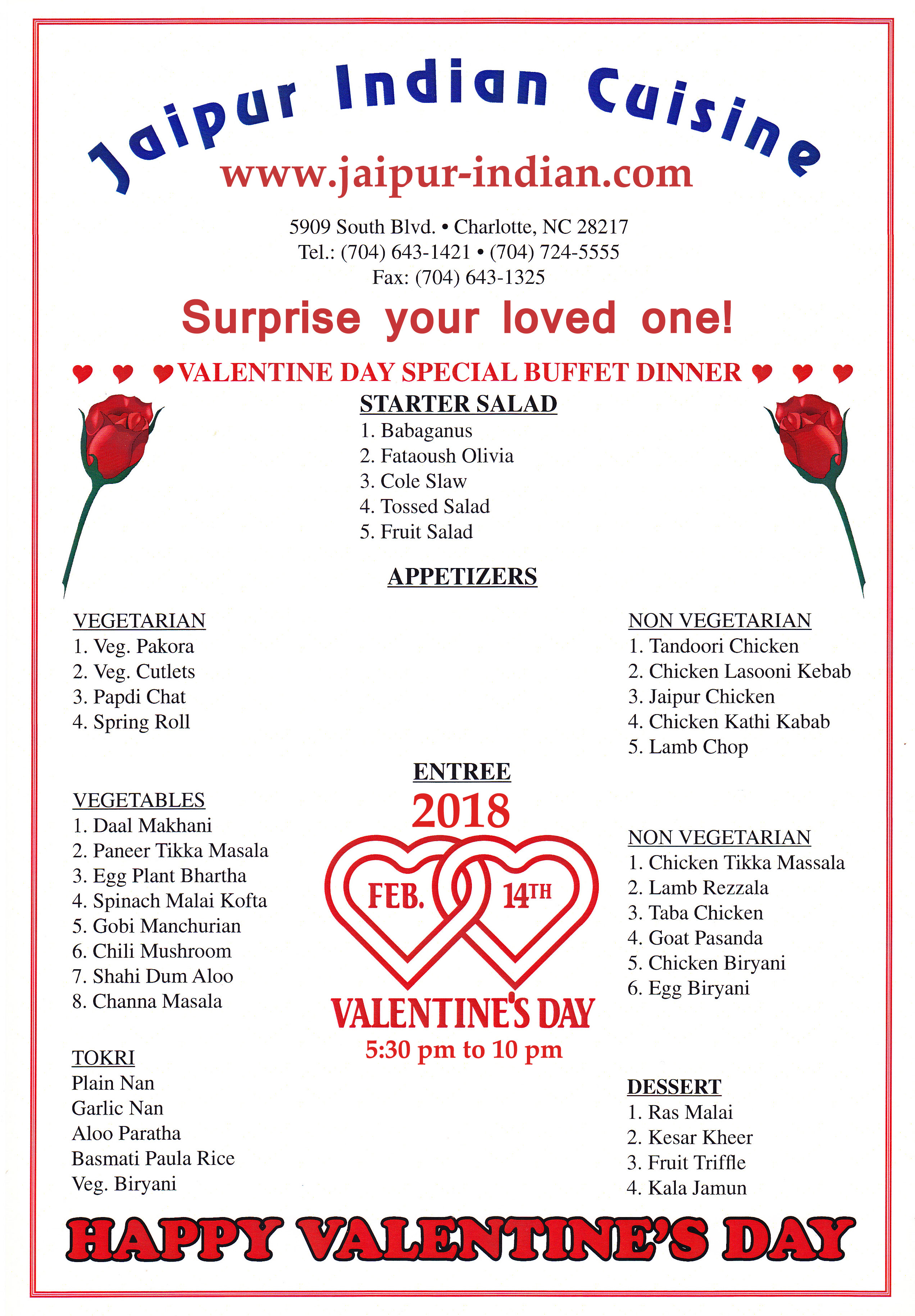 valentine day Feb 14 2018 special dinner buffet at jaipur indian restaurant charlotte